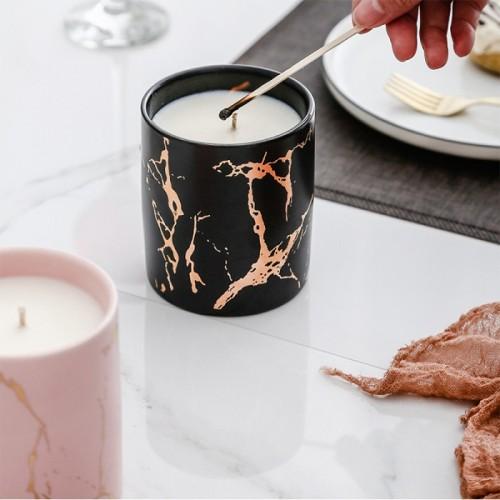 Classical Nordic popular gold grain marble ceramic candle jar