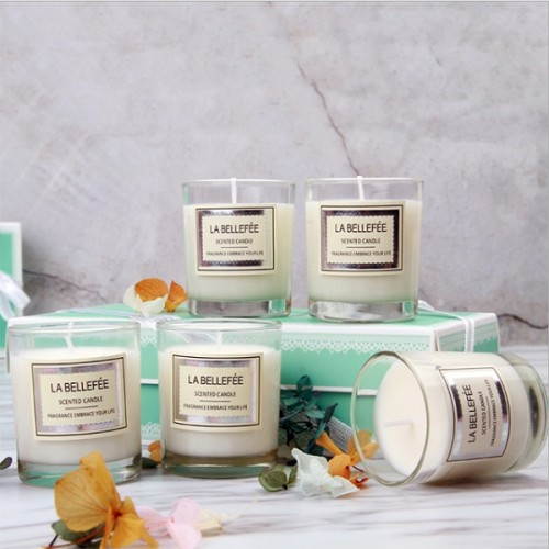 Luxury soy scented candle in glass jar with gift box