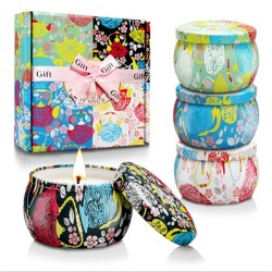 Hot European candle gift sets Custom retro patterns travel metal jar scented candle tin