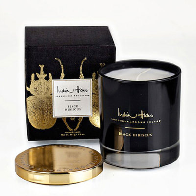 Wholesale black customized scented soy Candle glass Jar with gold Lid