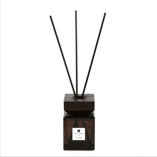 Luxury square wooden bottle cap pure natural fragrance reed diffuser