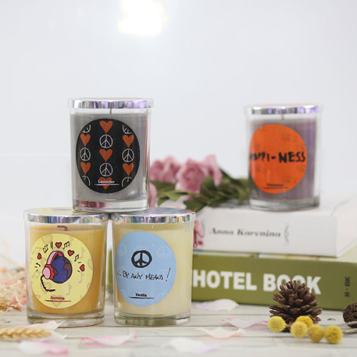 Most popular two wicks scented candle with wooden box