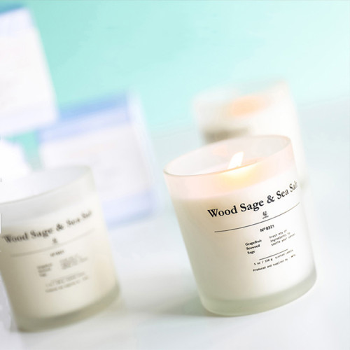 Customized different frosted glass jar scented soy wax candle