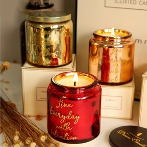 Luxury wedding red scented candle glass jar candle holder