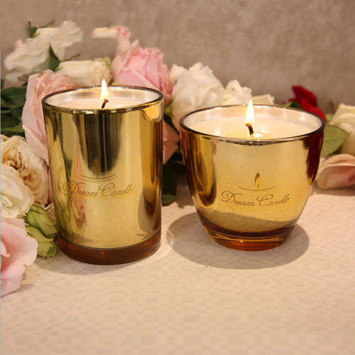 Luxury soy wax scented candle glass jar with metal lid