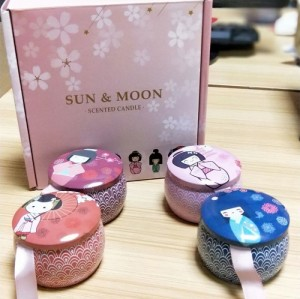 New Japanese style packaging home wedding gift scented wax tin jar candle with metal lid