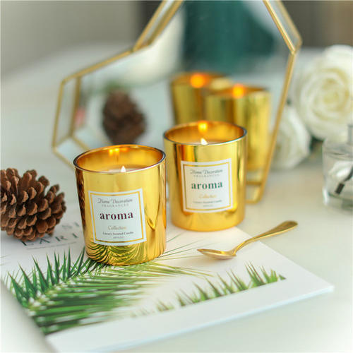 Wholesale luxury Customized scented natural soy wax metal copper jar candle with lids