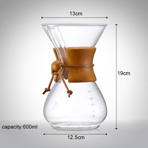 Wholesale Factory Direct Classic Glass Coffee Maker Pour Over Coffee Dripper