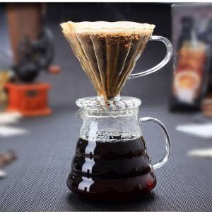 Coffee Dripper V60 Borosilicate Glass 2/4cups for Barista Coffee Brewing Cup Coffee Maker
