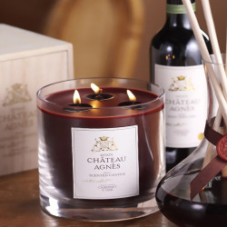 Wholesale luxury three wick brown glass jar candle with wooden box