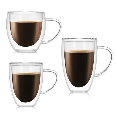 250ml 350ml 450ml Double Wall Glass Coffee Cup with Handle