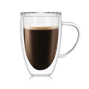 Hot Sale Double Wall Glass Coffee Cup with Handle