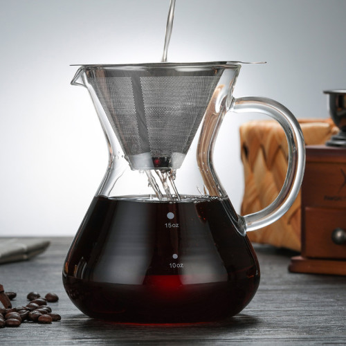 700ml Handmade Borosilicate Glass Pour Over Coffee Maker With 304 Stainless Steel Coffee Filter
