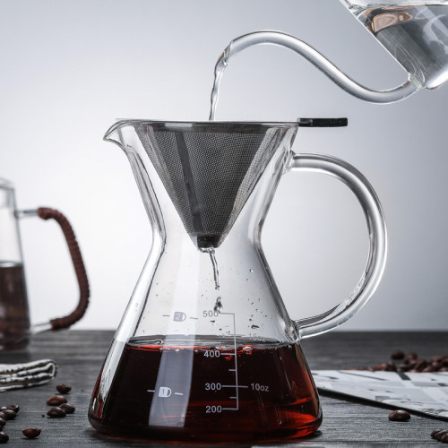 OEM 500ml Heat Resistant Glass Cold Brew Iced Coffee Maker Glass Pour Over Manual Coffee Maker