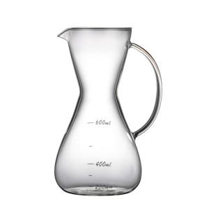 600ml Handblown Borosilicate Heat Resistant Pour Over Glass Coffee Maker Glass Coffee Pot