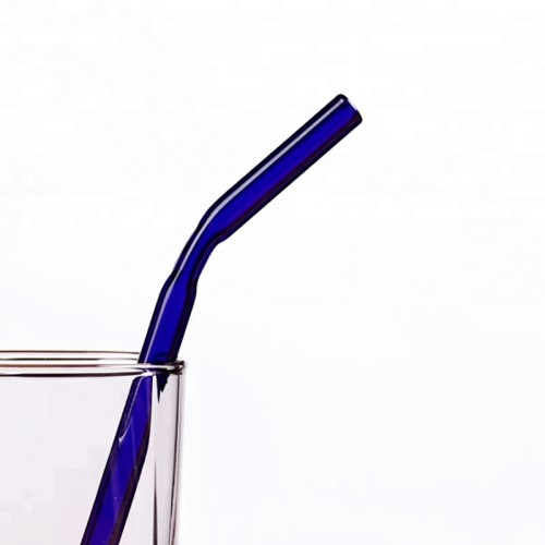 Handmade Pyrex Borosilicate Colored Bent Glass Drinking Straws