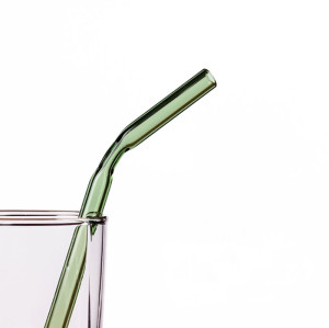 Handmade Pyrex Borosilicate Colored Bent Glass Drinking Straws