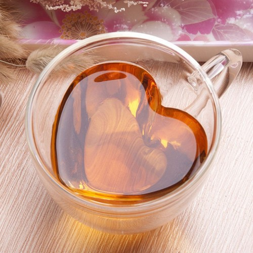 Creative Heart-shaped Double Wall Glass Cup with Handle