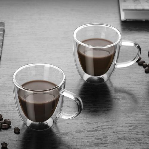 Amazon Hot Selling 160ml Double Wall Insulated Espresso Coffee Glass Mug