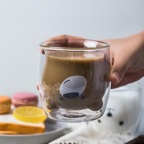 250ml Creative Animal Shaped Clear Double Wall Glass Cup Present Coffee Mug