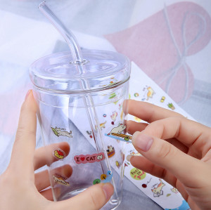 Borosilicate Glass Kids' Cup with Glass Lid& Glass Drinking Straw