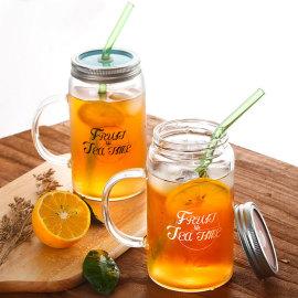 Handmade Heat Resistant Borosilicate Glass Mason Drinking Jar Glass Drinking Mug with Lid and Glass Drinking Straws