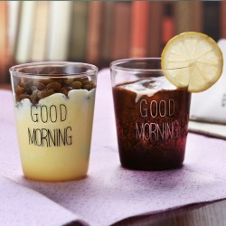 400ml Handmade Heat Resistant Borosilicate Good Morning Breakfast Glass Cup