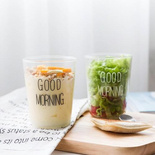 400ml Handmade Heat Resistant Borosilicate Good Morning Breakfast Glass Cup
