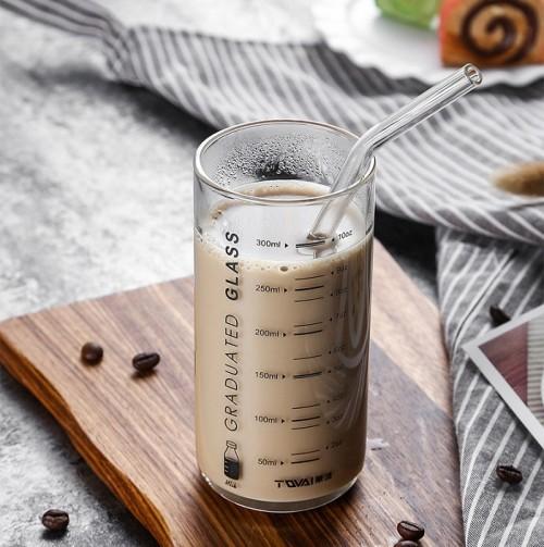 300ml Borosilicate Glass Cup Milk Drinking Glass Water Glass with Glass Straws