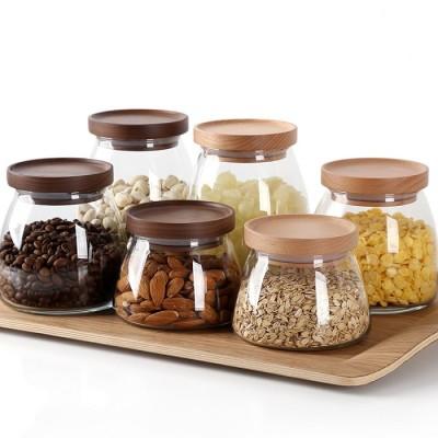500ml 750ml 1000ml Airtight Handmade Borosilicate Glass Food Storage Jar Canister With Oak Walnut Wood Lid
