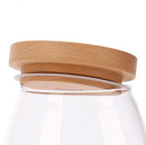 500ml 750ml 1000ml Airtight Handmade Borosilicate Glass Food Storage Jar Canister With Oak Walnut Wood Lid