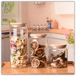 500ml 750ml 1000ml Wholesale Mouth-blown Borosilicate Glass Food Storage Jar With Oak Wooden Lid