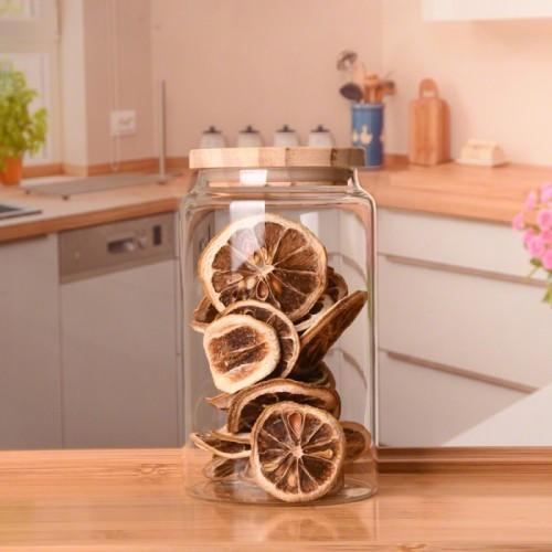 500ml 750ml 1000ml Wholesale Mouth-blown Borosilicate Glass Food Storage Jar With Oak Wooden Lid