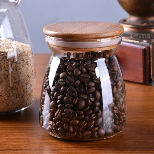 OEM / ODM Customized Hand Blown Borosilicate Glass Food Jars With Bamboo Lid 700ml 1100ml