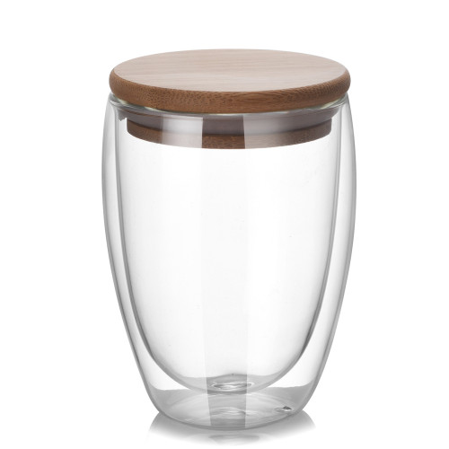 250ml 350ml 450ml Handmade Double Wall Glass Cup with Bamboo Lid