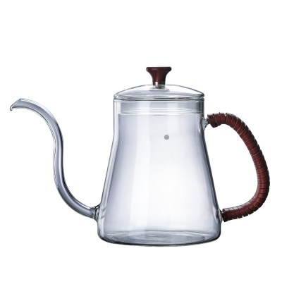 350ml 600ml Handmade Borosilicate Direct Heat Gooseneck Pour Over Glass Coffee Kettle For Brew Coffee