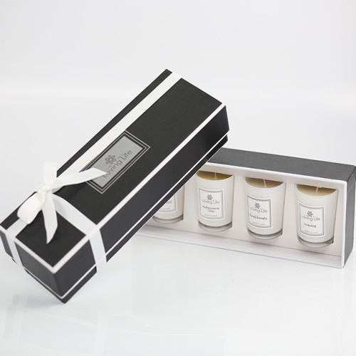 Custom mini 4 scented glass canister candles in luxury gift box