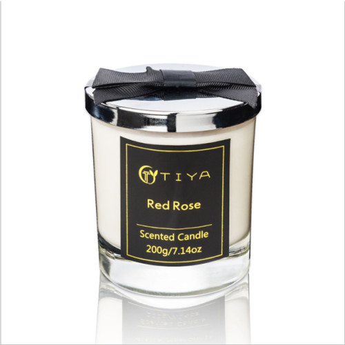Classic transparent glass bottle soy wax candle with sliver metal lid