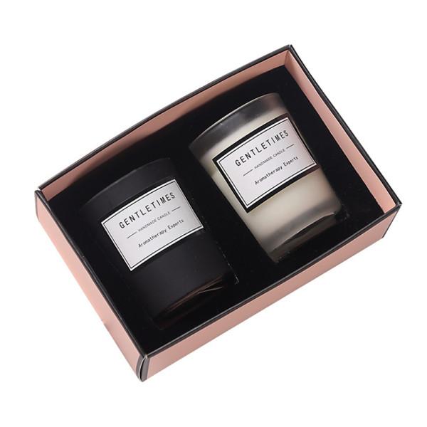 Christmas luxury packaging gift colorful scented candle jar frosted glass candle jar