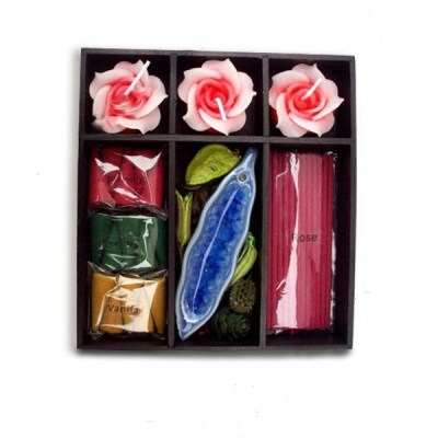 Ceramic scented incense and flower shaped candle for gift set