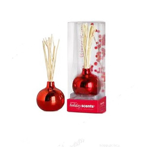 Color freshener aromatic reed diffuser in red round glass bottle