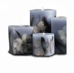 Wholesale different shaped carved dried flower inside pillar candle
