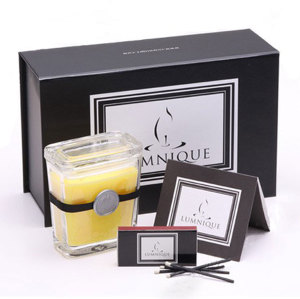 Square Scented Yellow Color Candle in Glass Jar with Luxury Gift Box