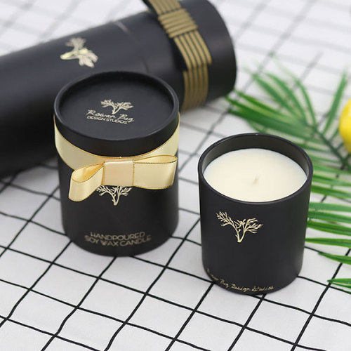 Custom Luxury Round Gift Box Scented Soy Candle in Glass Jar with High Quality
