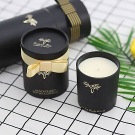 Luxury Round Gift Box Scented Soy Candle in Glass Jar