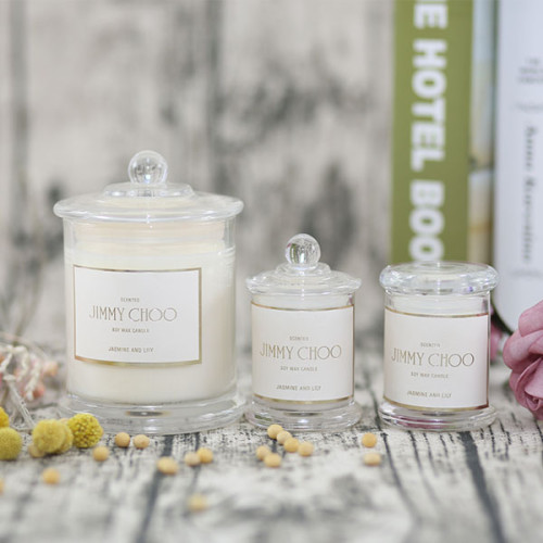 Luxury three wicks scented soy candle in clear glass jar with gift box