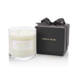 China Factory Lovely White Three Wick Scented Soy Candle with Black Box