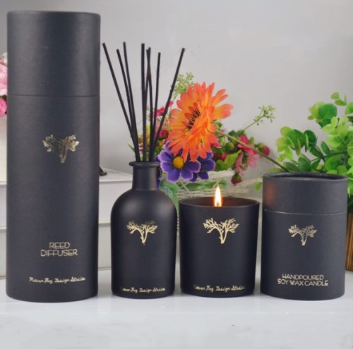 Custom Luxury Round Gift Box Aromatherapy Diffuser Scented Soy Candle in Glass Jar with High Quality