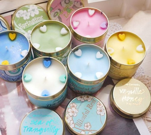 Wholesale home fragrance scented travel tin candles with metal lids