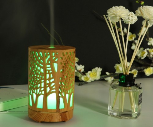 Carved Wooden Electric household indoor humidifier ultrasonic air aromatherapy essential oil diffuser